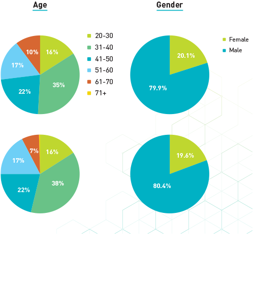 pie charts: Age and Gender